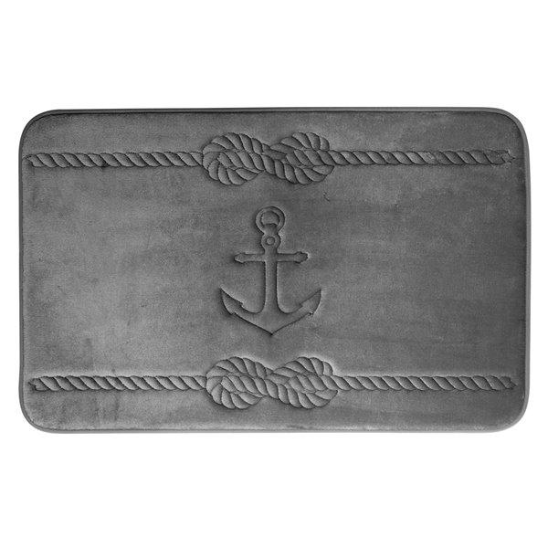 Swift Home Anchor 17-in x 24-in Dark Grey Polyester Memory Foam Bath Mat