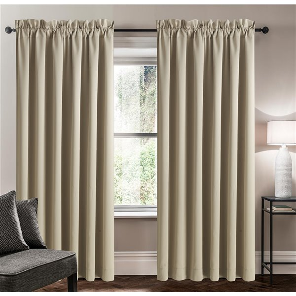 Swift Home 63-in Beige Polyester Room Darkening Interlined Single Curtain Panel