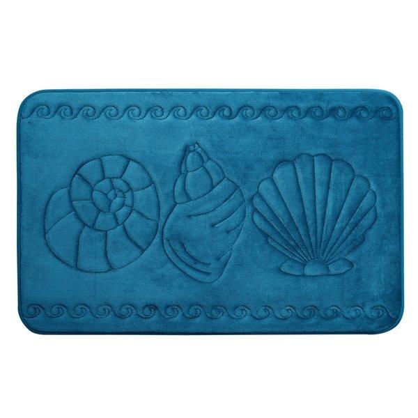 Swift Home Sea Shell 17-in x 24-in Teal Polyester Memory Foam Bath Mat