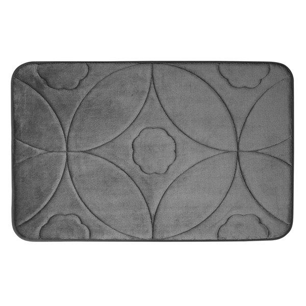 Swift Home Ogee 20-in x 32-in Dark Grey Polyester Memory Foam Bath Mat
