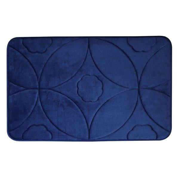 Swift Home Ogee 17-in x 24-in Navy Blue Polyester Memory Foam Bath Mat