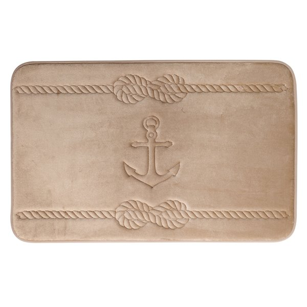 Swift Home Anchor 20-in x 32-in Taupe Polyester Memory Foam Bath Mat