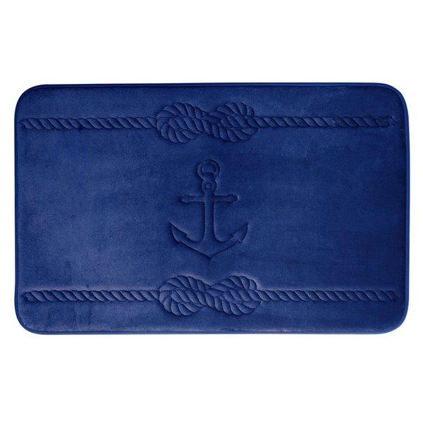 Swift Home Anchor 17-in x 24-in Navy Blue Polyester Memory Foam Bath Mat