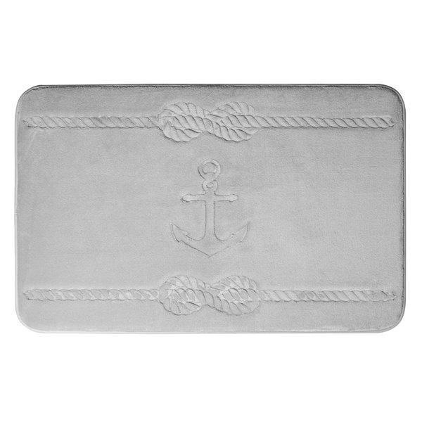 Swift Home Anchor 17-in x 24-in Light Grey Polyester Memory Foam Bath Mat