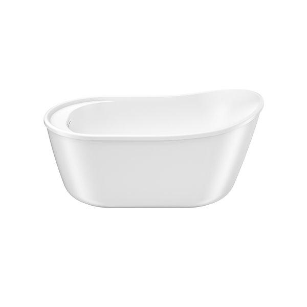 Maax Davis 32-in W X 58-in L White Acrylic Oval Reversible Drain Freestanding Bathtub