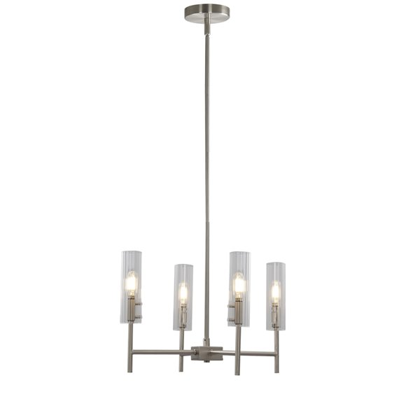 Scott Living Windsor 4-Light Brushed Nickel Modern/Contemporary Metal Chandelier