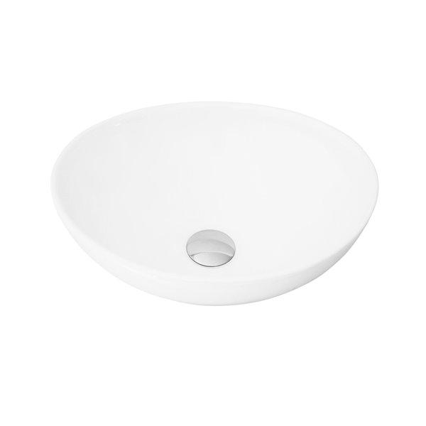 Stylish White Porcelain Vessel Oval Bathroom Sink - 15.75-in x 13.37-in
