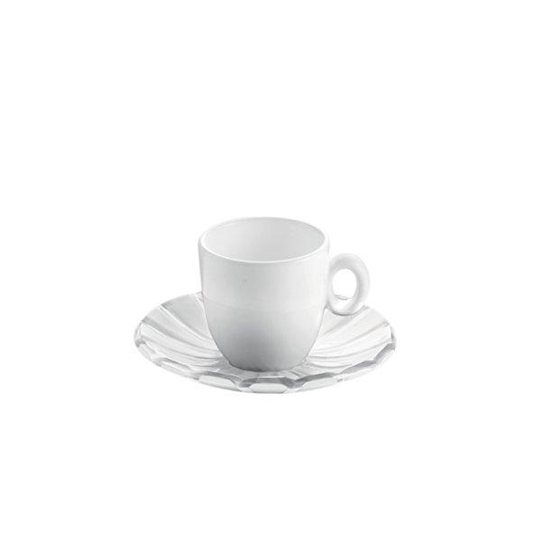 Guzzini Grace Clear 3-fl oz. Plastic Espresso Cups With Saucers - Set of 6
