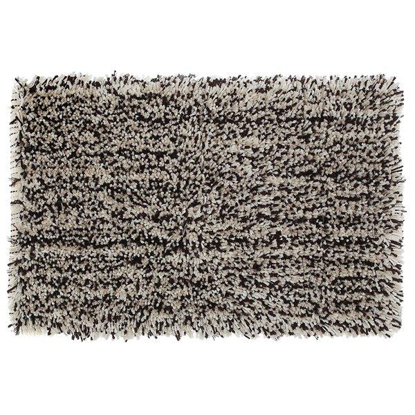 IH Casa Decor Shaggy Brown and Beige 20-in x 32-in Microfibre Bath Mat