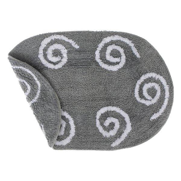 IH Casa Decor Reversible Swirly Grey Oval 16-in x 24-in Cotton Bath Mats - Set of 2