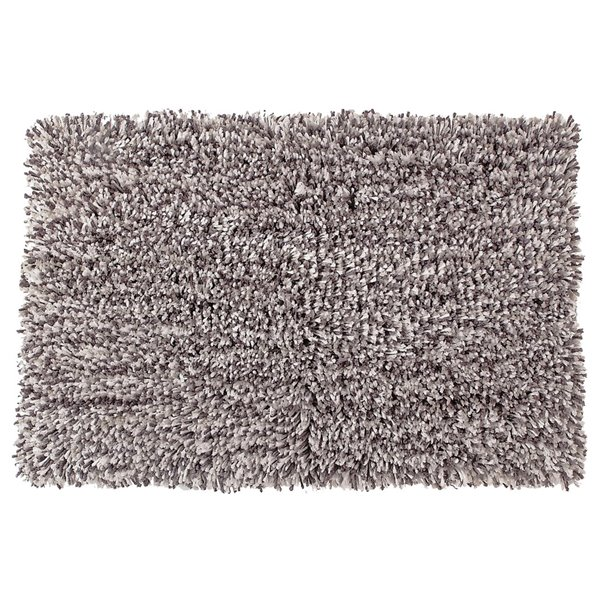 IH Casa Decor Shaggy Grey and White 72-in x 72-in Microfibre Bath Mat