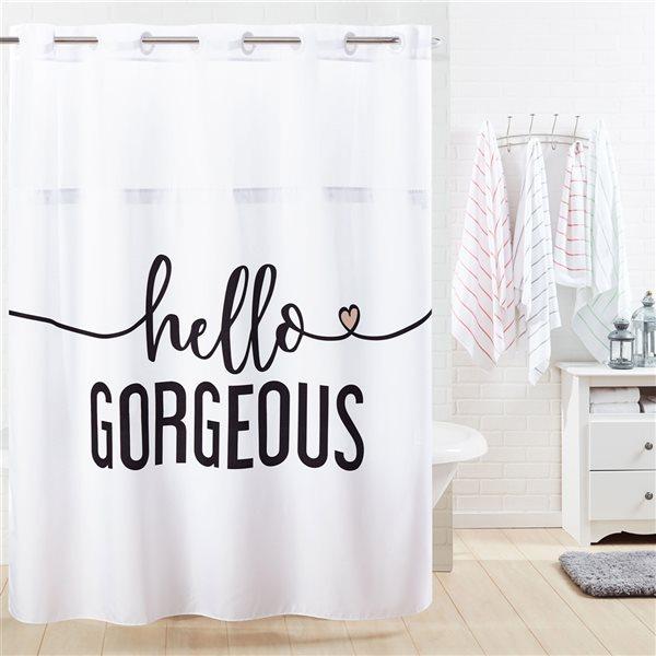 Rideau de douche Hookless à motif en polyester, 74po x 71po, noir et blanc