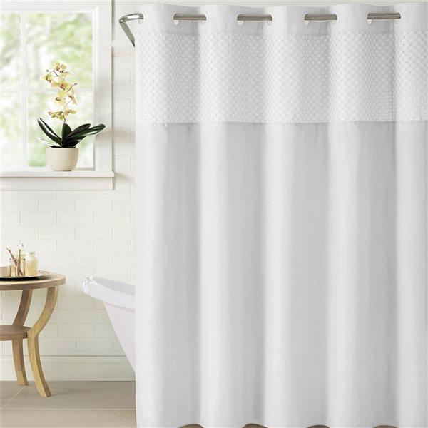 Rideau de douche Hookless en polyester, 74po x 71po, blanc