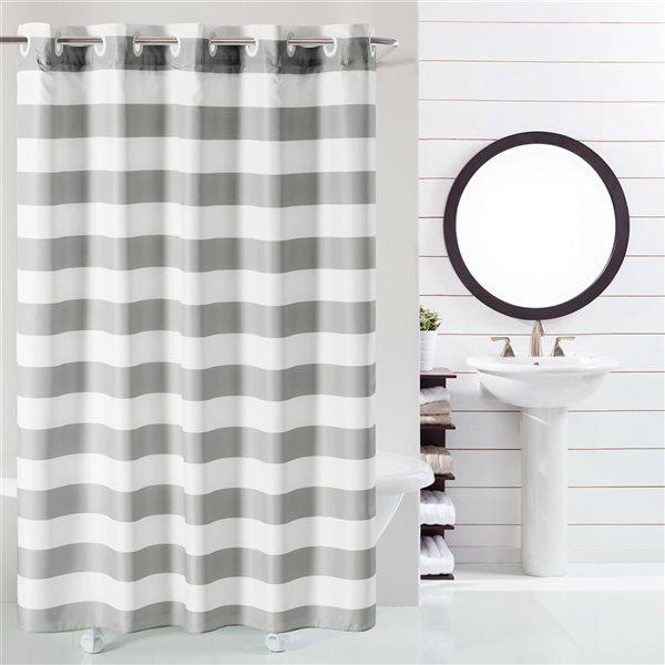 Rideau de douche Hookless à rayures en polyester, 74po x 71po, gris