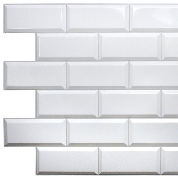 Panneau mural Falkirk rétro 3D III de Dundee Deco, PVC, tuile blanche, 3,2 pi x 1,6 pi, 5 pi² chacun, paquet de 10