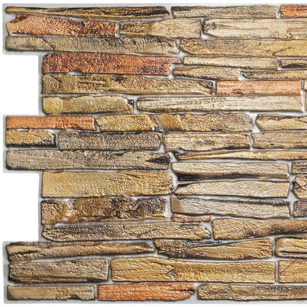 Panneau mural Falkirk rétro 3D III de Dundee Deco, fausse pierre brune, 3,2 pi x 1,6 pi, 5,3 pi² chacun