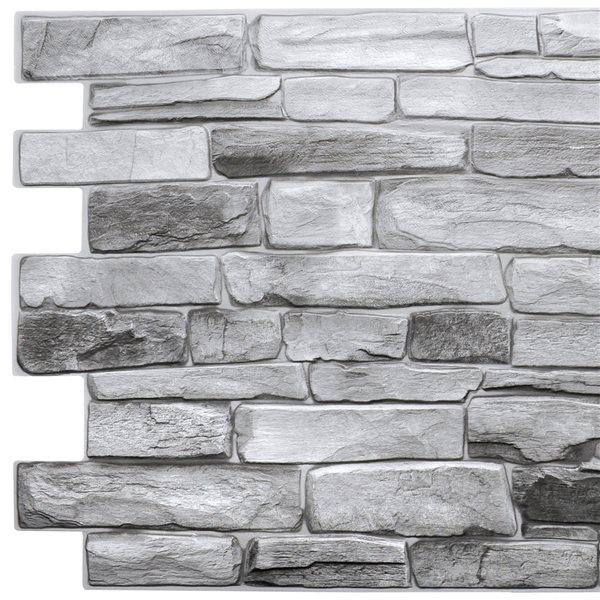 Panneau mural Falkirk rétro 3D III de Dundee Deco, pierre grise, 3,2 pi x 1,6 pi, en PVC, 5,3 pi² chacun, paquet de 5