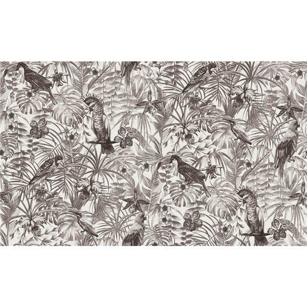 Papier peint en vinyle non encollé avec motif tropical Susila par Advantage couvrant 57,8 pi², gris