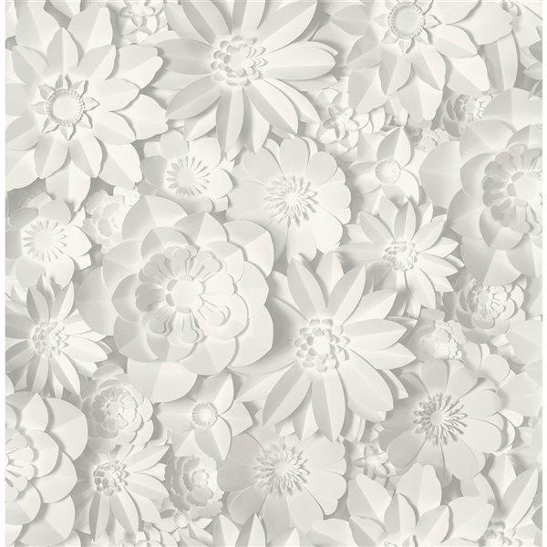 Papier peint non encollé au motif floral Dacre par Fine Decor couvrant 56,4 pi², blanc