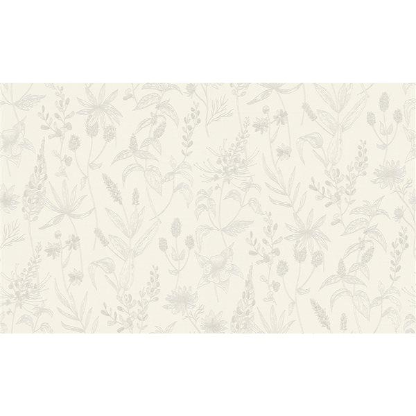 Papier peint en vinyle non encollé avec motif floral Nami par Advantage couvrant 57,8 pi², blanc