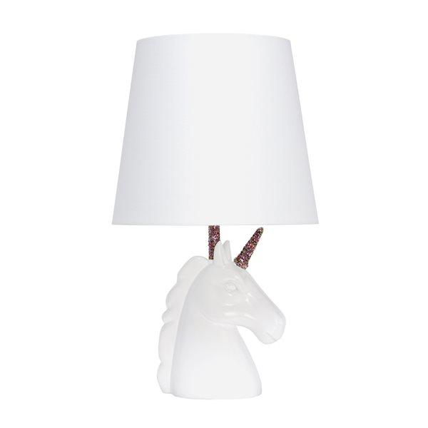 Lampe de table blanche/multicolore à incandescence d'Elegant Designs, 16 po avec interrupteur marche/arrêt et abat-jour en tis