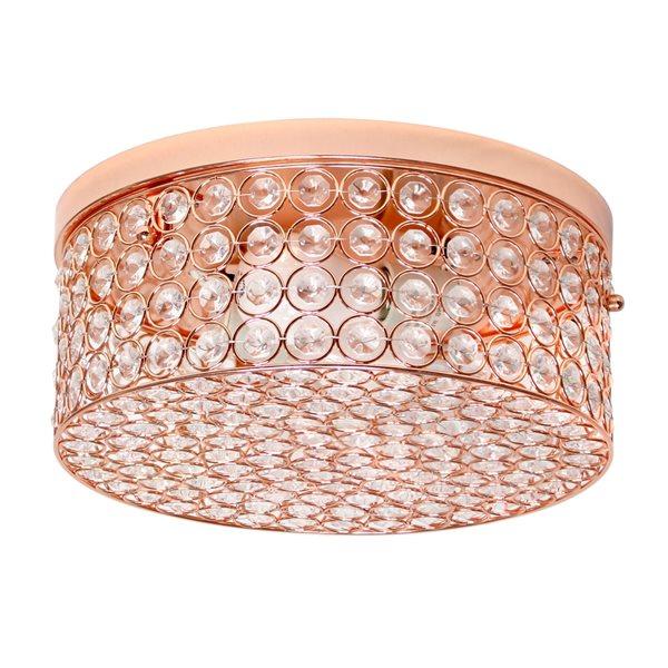 Plafonnier encastré moderne/contemporain de 12po Elipse Crystal par Elegant Designs à ampoule à incandescence, or rose