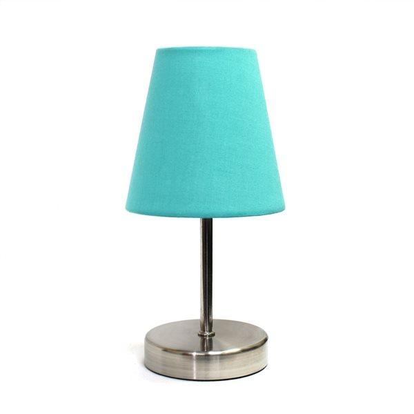 Lampe de table nickel sable à incandescence d'Elegant Designs de 10,63 po, interrupteur marche/arrêt et abat-jour en tissu ble