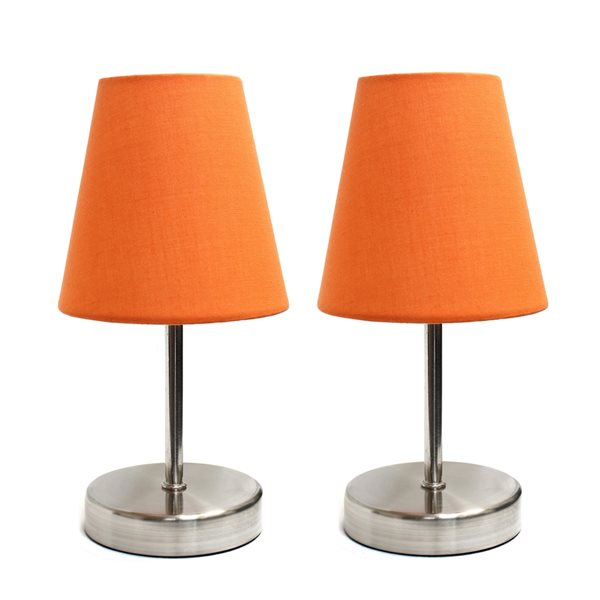 Lampe nickel sable à incandescence d'Elegant Designs 10,63 po, interrupteur marche/arrêt, abat-jour en tissu orange, ens. de 2