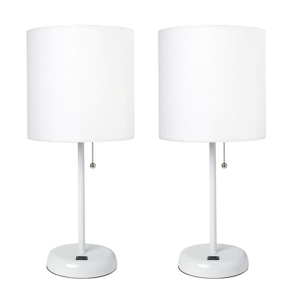 Ensemble de 2 lampes standards par LimeLights avec abat-jour blanc