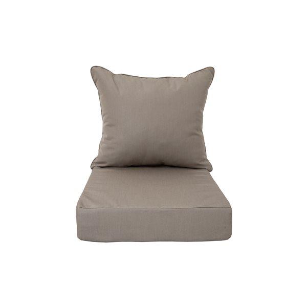 Coussins gris pour chaise de patio profonde par Bozanto Inc. , 2 pièces