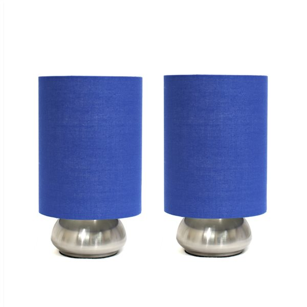 Lampes standards Gemini de Simple Designs avec abat-jour bleus, ensemble de 2