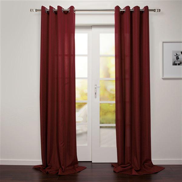 Panneau de rideau filtrant simple Tropea par Starlite rouge foncé de 95 po en polyester