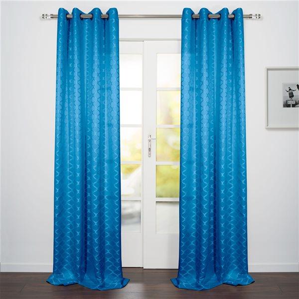 Panneau de rideau filtrant simple Como par Starlite bleu de 95 po en polyester