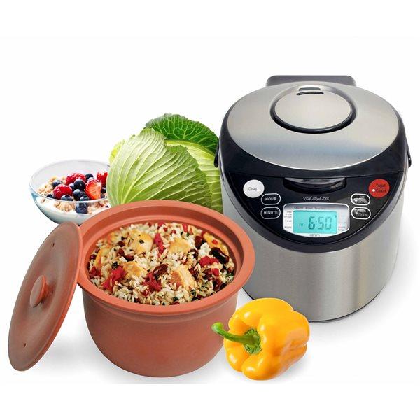 Cuiseur à riz et multicuiseur programmable de 6tasses VitaClay en acier inoxydable pour usage commercial et résidentiel