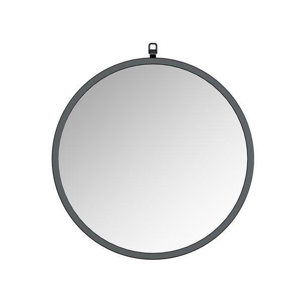 Miroir Haylo circulaire de 24po pour salle de bains par A&E Bath and Shower, noir