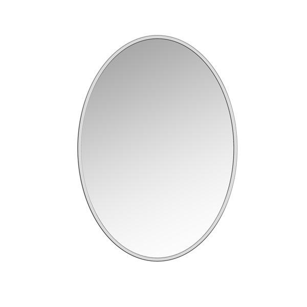 Miroir Sandy ovale de 24po pour salle de bains par A&E Bath and Shower, argenté