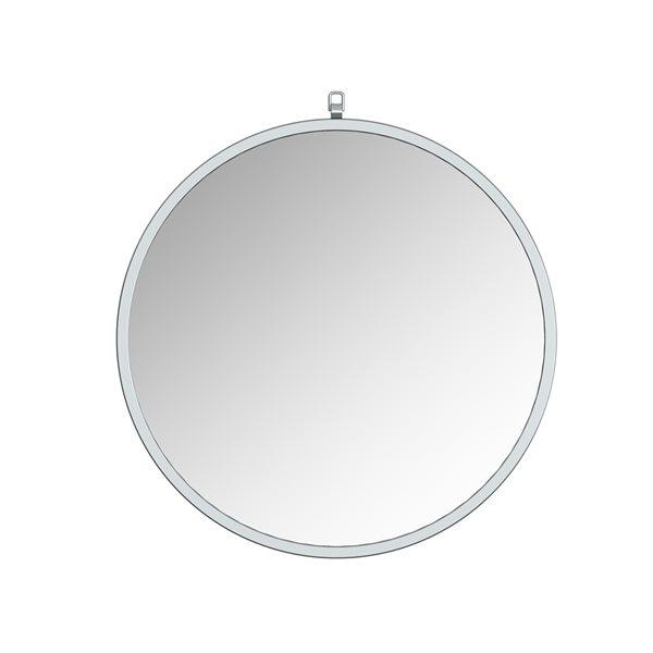Miroir Haylo circulaire de 28po pour salle de bains par A&E Bath and Shower, argenté