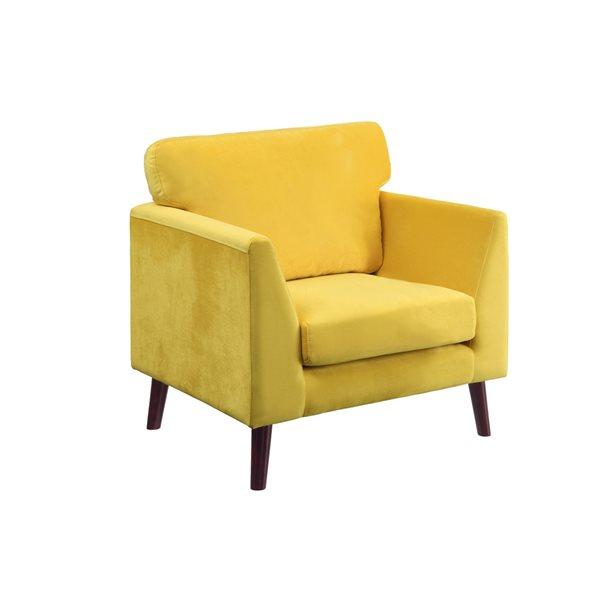 Chaise d'appoint moderne Tolley en velours jaune de HomeTrend