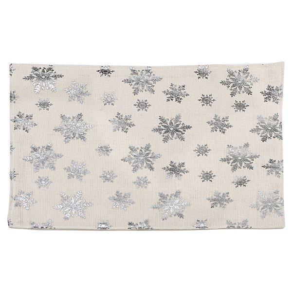 Napperon avec flocons de neige par IH Casa Decor, argent/blanc, ensemble de 12