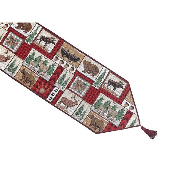 Tapis de table en tissu de tapisserie ajusté de 54po par IH Casa Decor, motif d'animaux d'hiver
