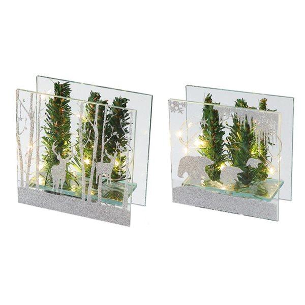 Décoration de Noël IH Casa Decor paysage d'hiver vert et argent avec lumière DEL, ensemble de 2