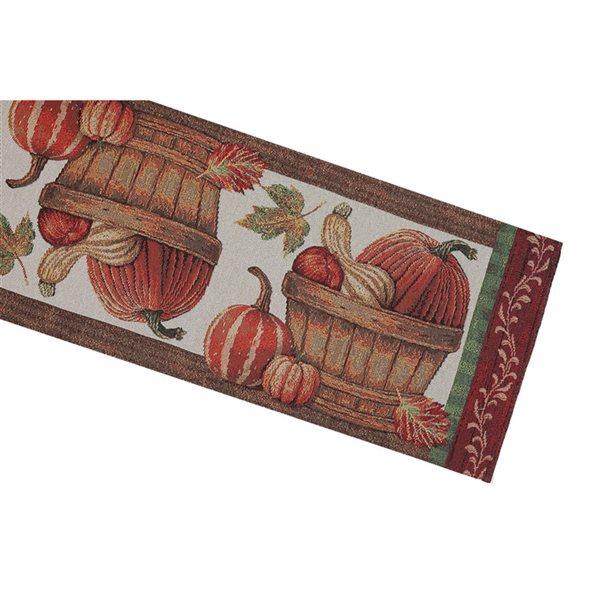Tapis de table en tissu de tapisserie ajusté par IH Casa Decor, motif de citrouilles dans un panier
