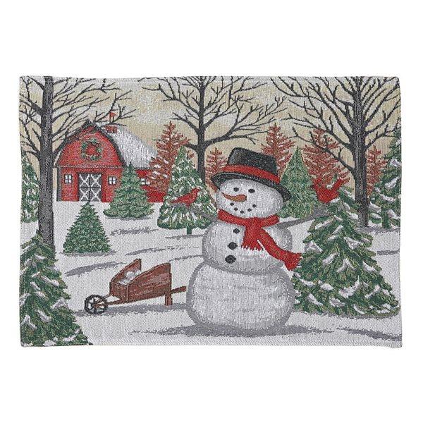 Napperon avec grange rouge et bonhomme de neige par IH Casa Decor, ensemble de 12