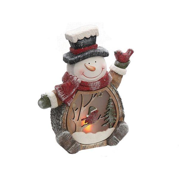 Décoration de Noël IH Casa Decor bonhomme de neige avec cardinal à lumière DEL