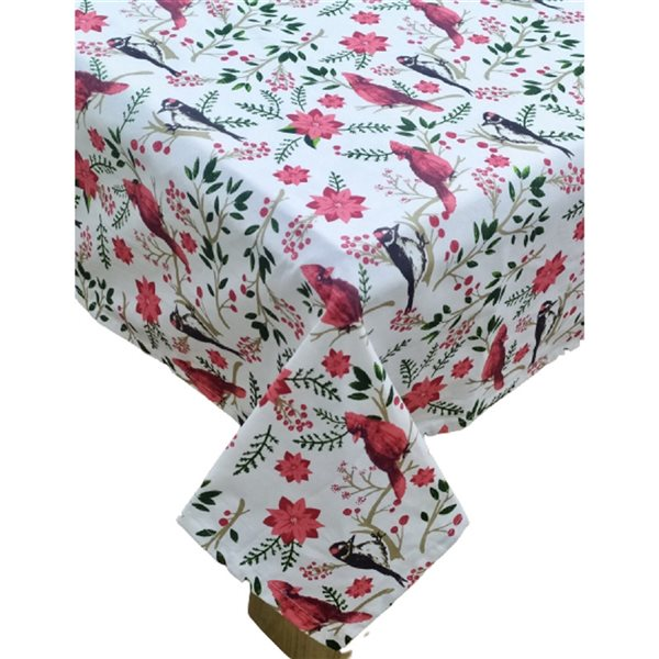 Nappe en coton ajusté par IH Casa Decor, 52po x 72po, motif de cardinal et poinsettia