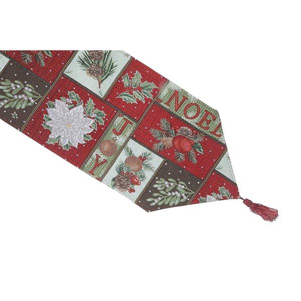 Tapis de table en tissu de tapisserie ajusté par IH Casa Decor, 36po, motif de Noël