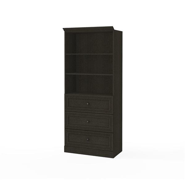 Garde-robe Versatile de 36 po avec 3 tiroirs par Bestar, gris foncé