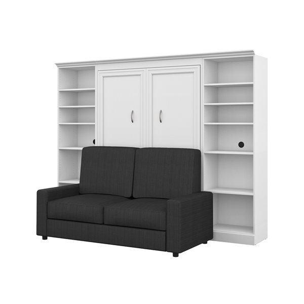 Lit deux places escamotable blanc Versatile de 109 po par Bestar avec unité de rangement et sofa