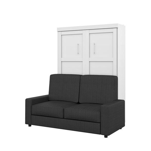 Lit deux places escamotable blanc Pur de 73 po par Bestar avec unité de rangement et sofa