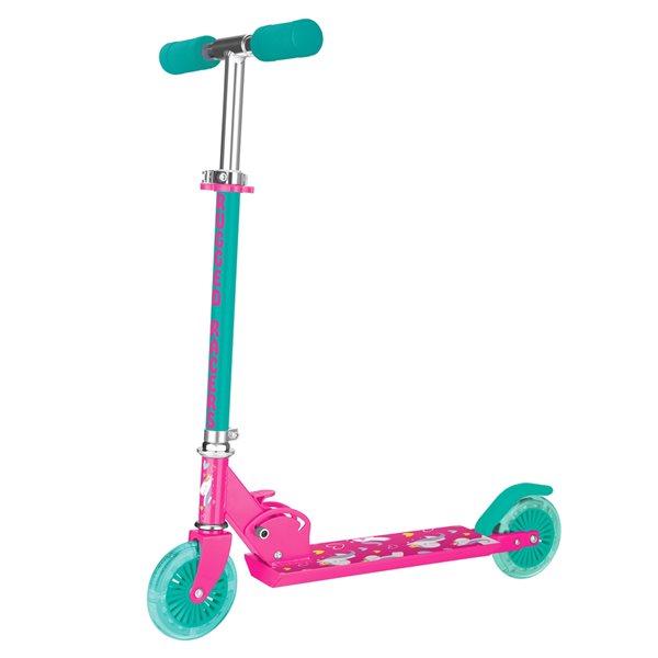 Trottinette pour enfants de Rugged Racers rose à 2 roues avec design d'unicorne et lumières à DEL